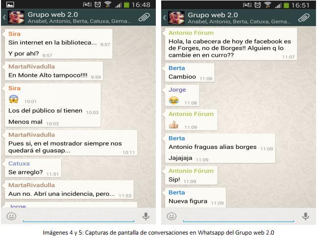 chats del grupo de whatsapp del grupo web 2.0 de las BIBLIOTECAS MUNICIPALES DE A CORUÑA